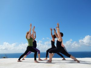 Yoga on sun terrace Laila Sell Italy 2017